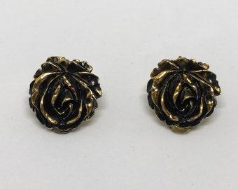 Black rose clip on earrings