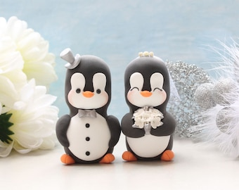 Anniversary Penguin cake toppers - Large size - vow renewal silver white wedding decor unique bride and groom figurines personalized elegant