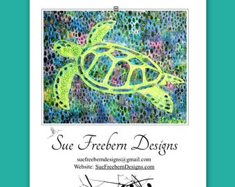 Sea Turtle Silhouette  Art Quilt Pattern: HARD COPY Mailed Right To You