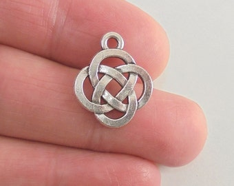 8 Celtic Knot charms, 19x15mm, antique silver finish