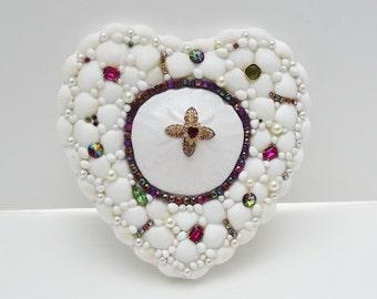 Seashell Decor, Seashell Heart, Sand Dollar, Vintage Rhinestones