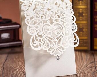 Lasercut Pocket Wedding Invitation
