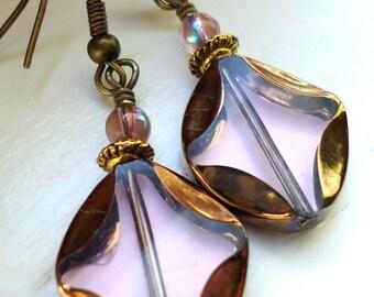 Pink Window Earrings SALE, Pink Earrings, Dangle Earrings Copper Earrings