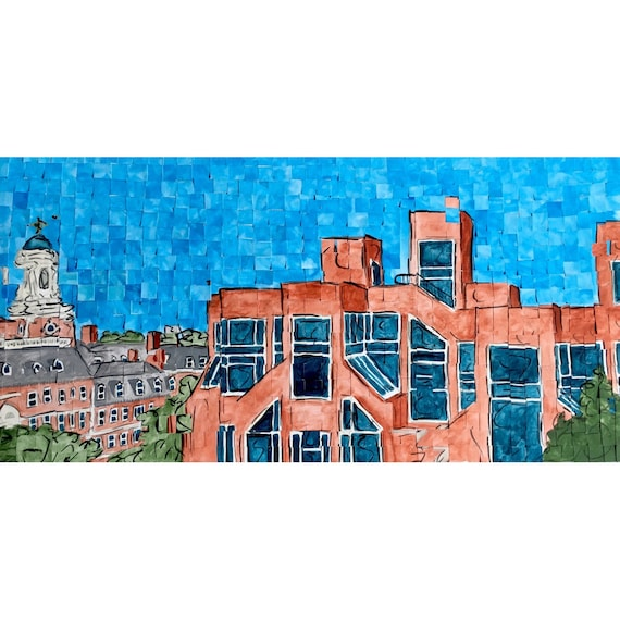 "Harvard University - Kennedy School of Government - Architectural Art: 10""x20"" Original Painting"