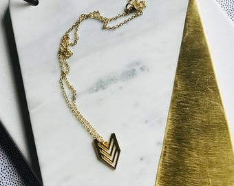 Triple Chevron Arrow Charm Necklace in Gold with Cable Chain (Nickel Free)