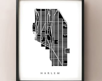 Harlem Map - Manhattan, NYC Neighborhood Art Print