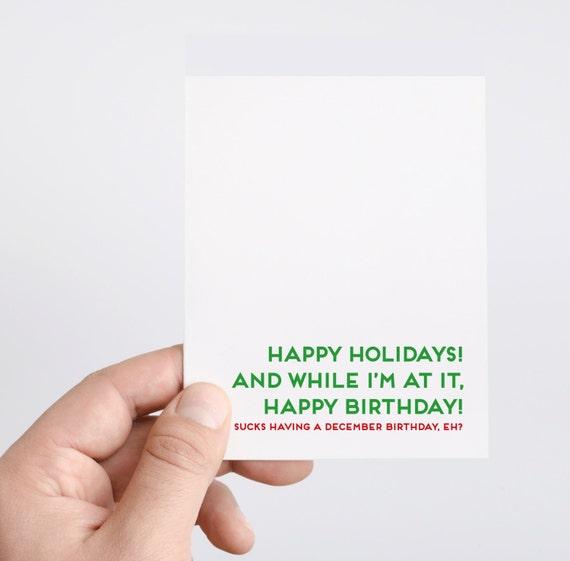 December Birthday Card Holiday Birthday Card Christmas