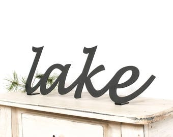 Lake Sign / Lake House Decor / Lake Cabin Decor / Metal Lake Sign / Cabin Decor / Lake Shelf Sign / Black Metal Decor