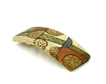 Art Deco Barrette - Painted Wood Hair Clip - Hair Barrette - Women's Hair Accessory
