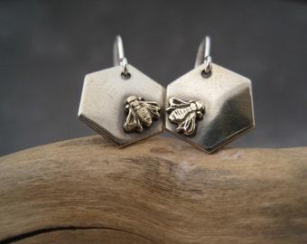 Bee Earrings  - Bee Jewelry - Nature Inspired - Honeycomb - Mixed Metal - Graduation - Rivet Jewelry - Nickel Silver - Brass - Dangles