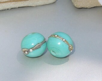 Handmade Lampwork Glass Round Bead Pair SRA DIY-Bastets Beads- Silver Mint