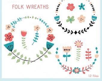 Folk Wreaths Set CLIP ART