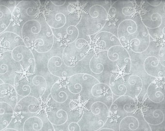 Snowflake Winter Christmas Flannel Fabric gray blue cream I