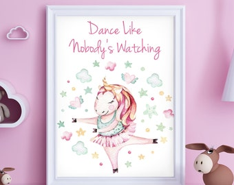Unicorn Print, Dance Like Nobody's Watching Unicorn A4 Children Wall Art, Boys Room, Girls Room, Nursery Decor, Unicorn Print, Dancing