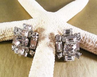 Vintage cluster earrings crystal La Rel signed clip-ons weddings bridal accessories