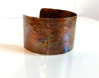 Copper Patina Cuff Bracelet Boho Copper Cuff Fold Form Copper Cuff Green Orange Patina Wide Copper Cuff Warm Earth Tone Bracelet Boho Chic
