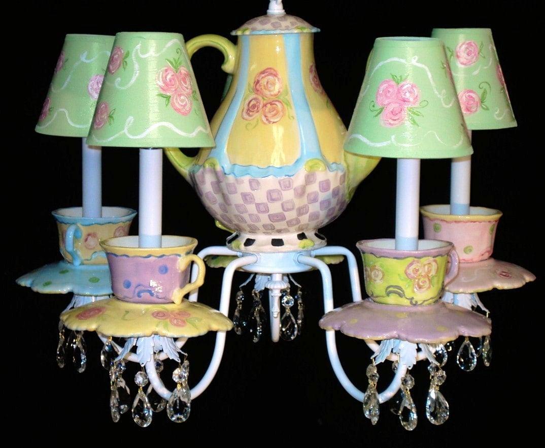 Tea cups and teapot chandelier zoom arubaitofo Choice Image