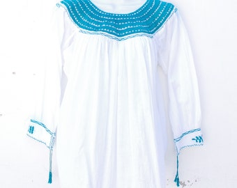 White Mexican Huipil Blouse with Aqua Round Neck Hand Embroidery from Chiapas M Size