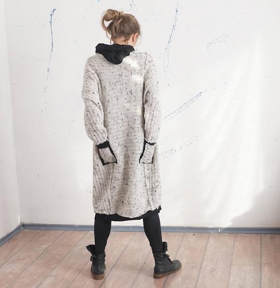 Maxi Knitted Sweatshirt Dress, Oversized Hooded Sweater Dress, Cotton Lining Long Sweatshirt, Loose Lagenlook Hoodie,