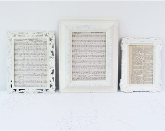 Ornate Picture Frames, Set of 3 Antique White Picture Frames, 4x6, 5x7 Frames, Shabby Chic Wedding or Nursery Frames