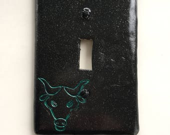 Taurus The Bull light switch plate cover for single toggle switch. black with glitter and metallic green bull CUSTOM COLORS AVAILABLE