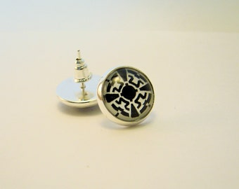 MEDICINE WHEEL Silver Stud Earrings -- Native American and Pacific Northwest art, Spiritual, Healing and Power totem