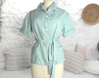 original retro blouse, size M/L, blue cotton 50's shirt, French vintage vintage clothing, 50's vintage retro clothes.