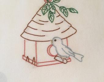 Bird Hand embroidered dish towel
