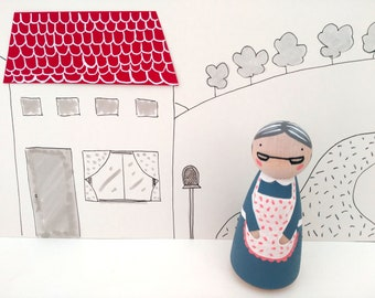 Grandma Peg Doll, Customised, Personalised, Wooden Doll, Gift, Couple, Family, Grandparents, Grandmother, Wedding, Deco, Mother's Day