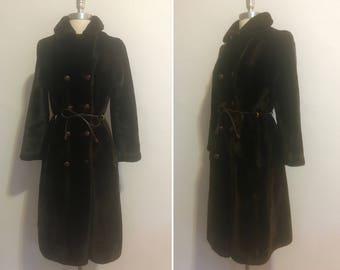Vintage 1960's Plush Mod Brown Fake Fur Coat with Fun Belt and Details!