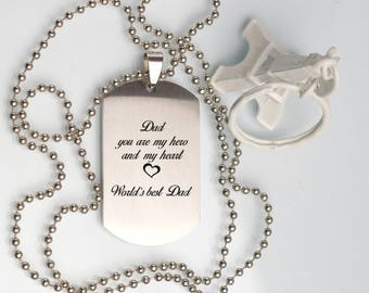 Gift for father, Personalised Father's dog tag pendant necklace, mens anniversary Pendant Necklace, Gift box, mens DOG TAG