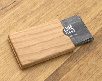 Pocket Wood Business Card Holder- Cherry Small