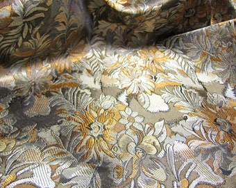 Chinese brocade fabric in brown with a floral pattern in gold and bronze, ONE yard of rich brown shimmering brocade fabric - 1 yd.