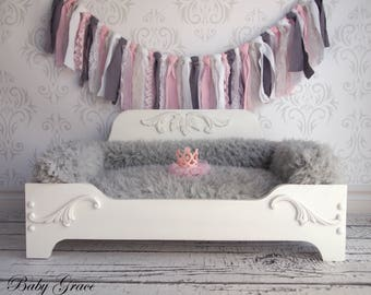 Princess Dog Bed Wood Pet Bed Dog Furniture Newborn Prop Bed Pet Furniture Bed Small Dog Bed, Wood Bed, Furniture Prop, Newborn Photo Prop