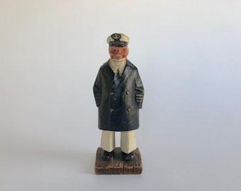 Vintage Carved Wood New England Sea Captain Sculpture