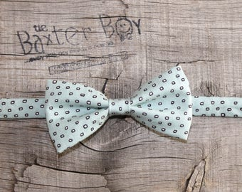 Dusty Aqua Square Dot bow tie for little boys - photo prop, wedding, ring bearer, accessory