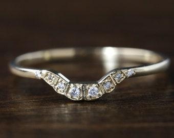 curved diamond wedding band, 14k gold platinum / art deco inspired curved diamond wedding ring / stack set wedding curved band