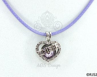 Pick A Pearl Cage Silver Plated Cheer Heart Love Charm Locket Cheerleader on PURPLE CORD