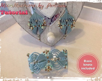 Micro Macrame Tutorial DIY Beaded Macrame Bracelet and Earrings (2 tutorials)