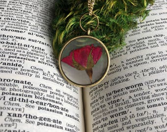 Dried rose botanical necklace, real preserved red rose