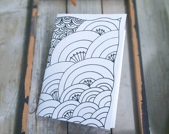 Black White Graphic Notebook, Doodled Sketchbook, Zentangle Notebook ,Sewn Jotter