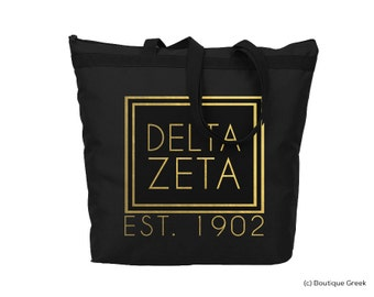 DZ Delta Zeta Foil Frame Sorority Tote