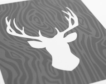 Deer head Silhouette Art Print / Choose your Color & Background / 8x10 / Wall Art Poster