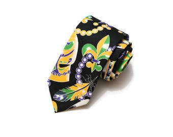 Mardi Gras Necktie~Anniversary Gift~Wedding Tie~Boys Necktie~Mens Necktie~Preppy Gift~Mardi Gras Tie~Mask~Crown~Feathers~Beads~Fleur de lis