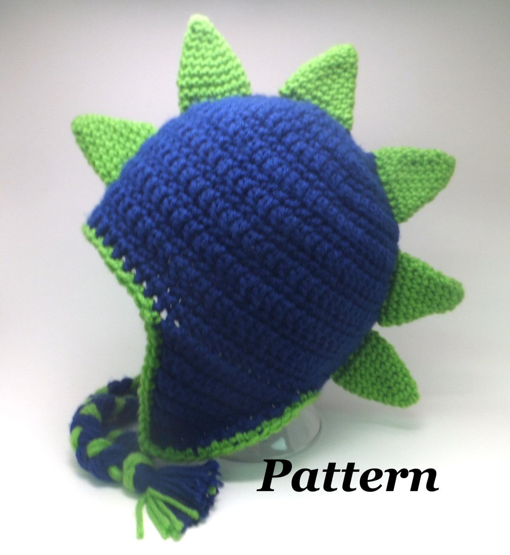 CROCHET PATTERN: Crochet Earflap Dinosaur or Dragon Hat Pattern ...