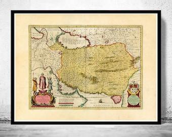 Old Map of Persia Iran 1665