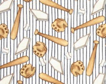 Billy Bear Bat Baseball Glove on strip Cotton Fabric By the yard / by the half yard