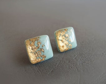 Gray Blue Gold Square Stud Earrings - Hypoallergenic Surgical Steel Post