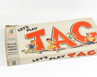 1958 Let's Play Tag - Milton Bradley Board Game - 50s Board Game - Vintage Board Game