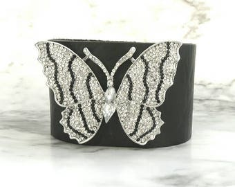 Butterfly bracelet, women's leather cuff, black and white rhinestone brooch, black statement bracelet, zebra print , symbolic bracelet